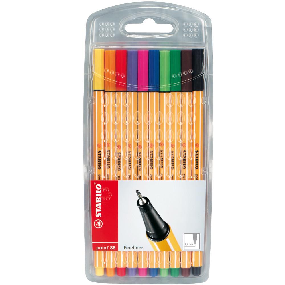Stabilo Point 88 Fineliner Pen Fine 0.4mm Assorted Wallet Of 10