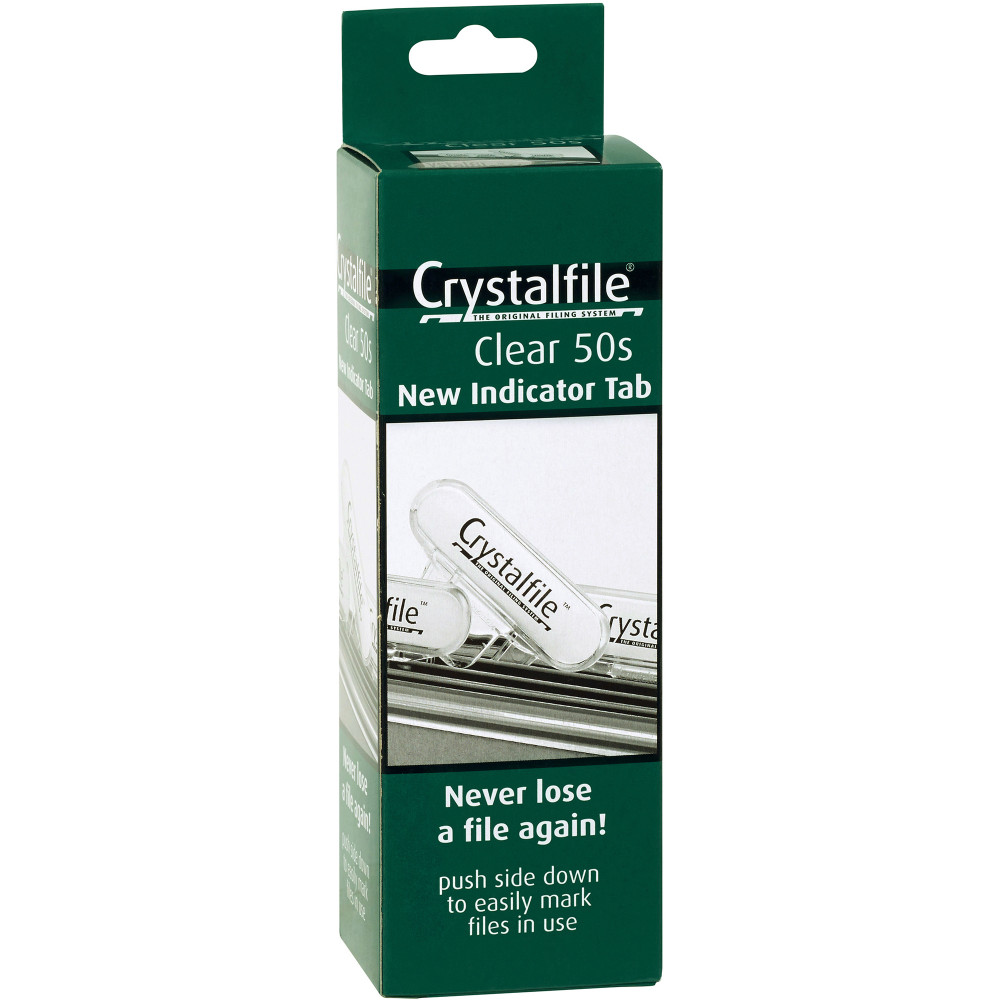 CRYSTALFILE INDICATOR TABS New Style Clear Pack of 50