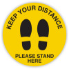 Durus Health And Safety Sign Floor Sign Social Distance Feet Yellow and Black
