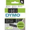 DYMO D1 LABEL CASSETTE TAPE 12mm x 7m White on Black