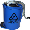 Cleanlink Heavy Duty Plastic Mop Bucket Metal Wringer 16L Blue
