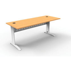Rapid Span Open Straight Desk 1500Wx700mmD Modesty Panel With Beech Top & White Steel Frame