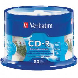 VERBATIM RECORDABLE CD-R 52X 80MIN 700MB Printable 50 Pack Silver