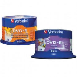 VERBATIM RECORDABLE DVD-R 16X 120MIN 4.7GB Inkjet Printable Pack 50 White