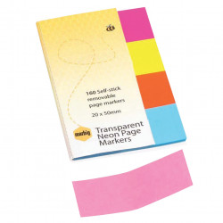 MARBIG TRANSPARENT PAGE MARKER Colour 20x50mm 160Sht Assorted Pack of 160