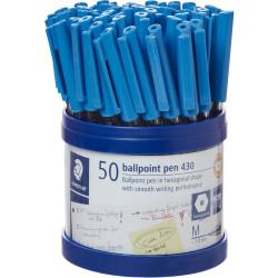 STAEDTLER STICK 430 BALL PEN Medium Blue Cup of 50