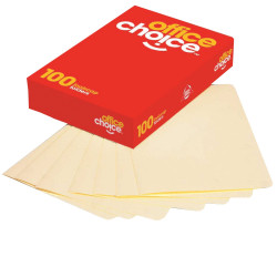 OFFICE CHOICE MANILLA FOLDER Foolscap Buff Box of 100