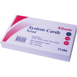 ESSELTE RULED SYSTEM CARDS 203x127mm (8x5) Wht Pack of 100