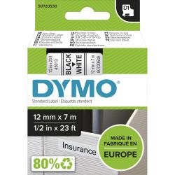DYMO D1 LABEL CASSETTE TAPE 12mm x 7m Black on White