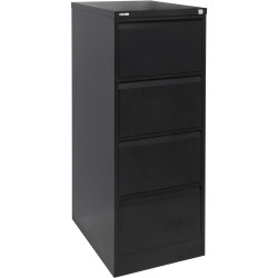 GO 4 DRAWER FILING CABINET H1321mm x W460mm x D620mm Black Ripple