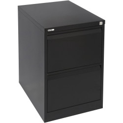 GO 2 DRAWER FILING CABINET H730mm x W460mm x D620mm Black Ripple
