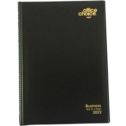 OFFICE CHOICE BUSINESS DIARY A4 Day To Page Pvc Padded Cover Black
