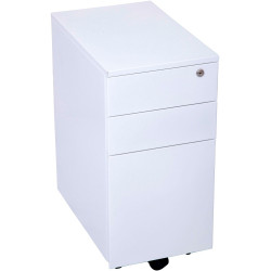 GO STEEL MOBILE PEDESTAL Slim Line Metal 3 Drawer Metal White