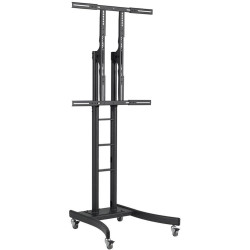 Atdec Telehook Floor TV Stand Cart With Shelf Black