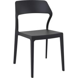 Snow Hospitality Dining Chair Heavy Duty Indoor/Outdoor Use Black Polypropylene
