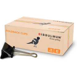 BIBBULMUN FOLDBACK CLIPS 41mm Pack of 12