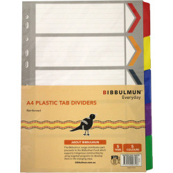 Bibbulmun Reinforced Divider A4 5 Tab White With Coloured Tabs
