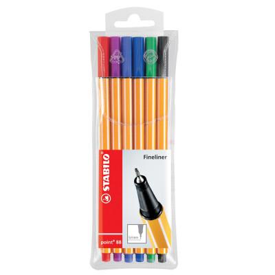 Stabilo Point 88 Fineliner Pen Fine 0.4mm Assorted Wallet Of 6