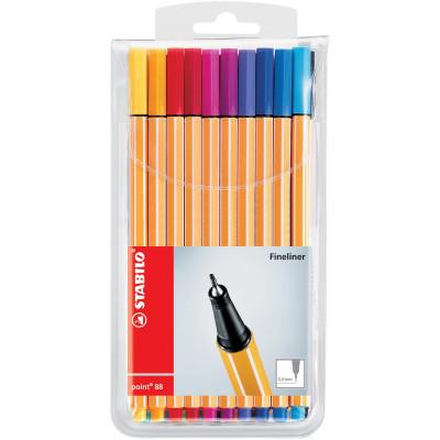Stabilo Point 88 Fineliner Pen Fine 0.4mm Assorted Wallet Of 20