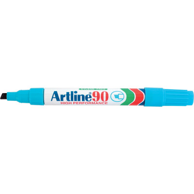 Artline 90 Permanent Markers Chisel 2-5mm Light Blue Pack Of 12